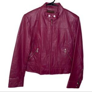 Bandolino pink 100% leather moto biker jacket